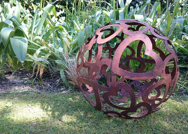 Large Heart Pattern Corten Steel Sculpture Hollow Sphere Metal Garden Ball